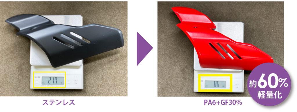 ナイロンで軽量化。金属パーツをナイロン注型(マフラープロテクター)